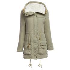 Toko Stylish Turn Down Collar Long Sleeve Front Pocket Zipper Type Woolen Warm Women Coat Khaki Size 2Xl Int M Intl Oem Di Tiongkok
