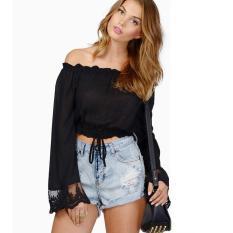 Spesifikasi Stylish Wanita Lengan Lengan Lengan Panjang Dengan Renda Top Blus Intl Yang Bagus