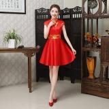 Toko Su Yaqi Cheongsam Baru Porselen Qinghua Cheongsam Menerima Tamu Etiket Merah Ayat Pendek Baju Wanita Dress Wanita Gaun Wanita Termurah
