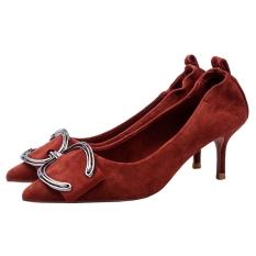 Suede Musim Semi Baru Pointed untuk Hak Tipis Sepatu Tumit (Bata Merah)