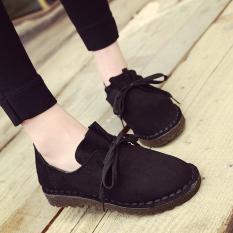 Harga Sepatu Oxford Wanita Suede Flat Hitam Hitam Oem Online