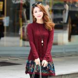 Spesifikasi Jacepy Jacepy Sweater Dasar Wanita Bunga Bunga Kombinasi Seolah Olah Dua Potongan Merah Tua Baju Wanita Baju Atasan Dan Harganya