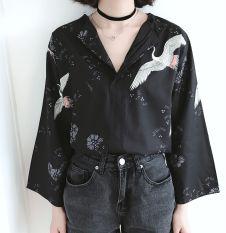 Kemeja Wanita Lengan 7/8 Sifon Leher V Retro Versi Korea (Gambar warna) (Gambar warna)
