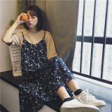 Cuci Gudang Gaun Wanita Model Setengah Panjang Sifon Bunga Bunga Versi Korea Biru Tua Biru Tua