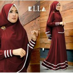 Suki Dress Hijab Syfarose - Maroon list Putih