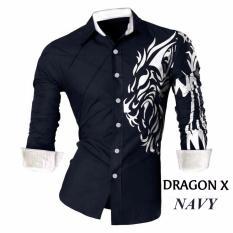 Toko Suki Kemeja Pria Sablon Drag X Navy Terlengkap