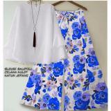 Jual Suki Stelan 2In1 Blouse Dan Kulot Flower Ashanti Bluewhite Online Dki Jakarta