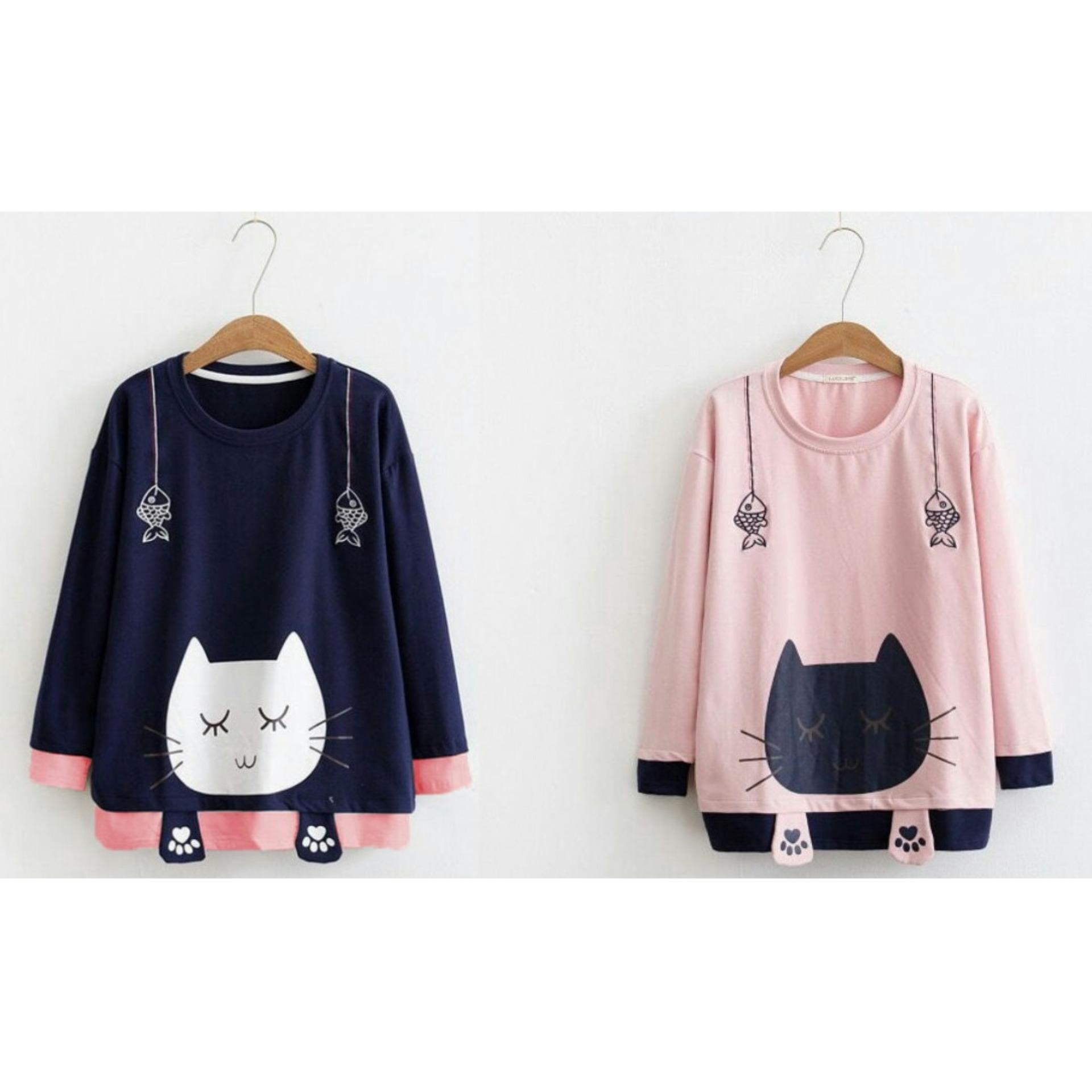 Motif kucing Suki Sweater Wanita Lengan Panjang Catty   Tumblr Tee Wanita   Sweater  Jaket 2469d5c729