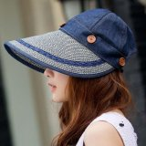Diskon Musim Panas Adjustable Wanita Sun Hat Wide Brim Visors Lipat Anti Uv Topi Removable Striped Panama Beach Cap Denim Biru Intl Oem Di Tiongkok