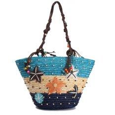 Toko Summer Beach Coral Cane Straw Handmade Rajutan Cute Shoulder Bag Handbag Tote Biru Intl Terlengkap