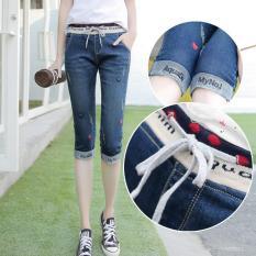 Musim Panas Bull-puncher Wanita Versi 7 Menit dari Celana Jeans Elastis Pinggang Celana Di