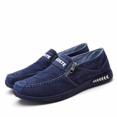 Diskon Besarmusim Panas Semburan 2017 Baru Sepatu Kanvas Sepatu Kasual Pria Malas Sepatu Flat Shoes Biru Tua Intl