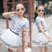 Review Tentang Pakaian Musim Panas Set Bandung Photo Perempuan Atasan Katun Setelan Rok Gadis Remaja Baju Olahraga Fashion Set Pakaian Panjang Lengan Bergaris Pakaian Kartun