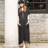 Diskon Linen Katun Kasual Wanita Dresss Panas Musim Belahan Asimetris Gaun Panjang Maxi Vestidos Ukuran Better S 5Xl Abu Abu Zanzea Di Tiongkok