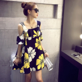 Toko Summer Fashion Cute Slim Slash Neck Sleeveless Off Shoulder Flower Print Flouncy Dress Lz 006 Intl Murah Di Tiongkok