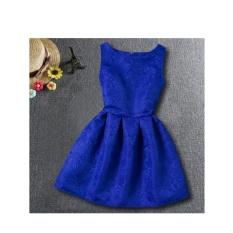 musim panas girls A-line gaun 2017 Eropa dan Amerika a putri pakaian untuk gadis anak pakaian remaja pesta kostum (biru)