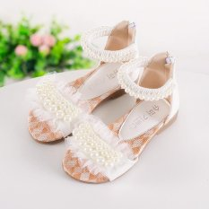 ... Musim Panas Anak Perempuan Beading Anak anak Sandal Flat Zipper Putri Sepatu putih