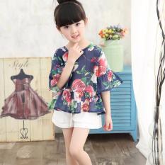 Beli Musim Panas Girls Anak Pakaian Set T Shirts Pendek Floral Print Kids Outfits Dark Blue Kredit