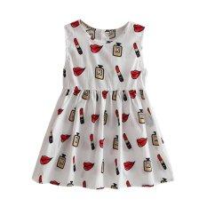 Musim Panas Girls Sost Gaun Tanpa Lengan Dress Lipstik Dicetak Dresses (Putih)-Intl