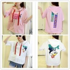 Summer Hooded Wanita Kartun T-shirt Lengan Pendek Pencetakan Siswa Korea Longgar Kode Half Tide Hoodie sweater Manset-Intl