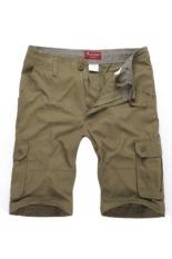 Musim Panas Pria Kasual Sport Celana Pendek Kargo Multi-pocket Celana Baggy (Dark Khaki)