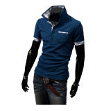Harga Musim Panas Fashion Pria Kasual Lengan Bang Pendek Kaos Polo Shirt Biru Yang Bagus