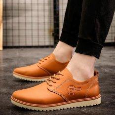 Spesifikasi Musim Panas Pria Sneaker Fashion Kulit Sepatu Bisnis Sepatu Khaki Intl Murah