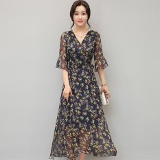 Korea Baru Musim Panas Gaun Sifon Slim V-Shirt Floral Lengan Hooded Dress-Intl