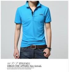 Musim Panas Baru Pria Pendek-Sleevedlapel Kaus Ramping Katun Pemenang Kaus Remaja POLO Kemeja Bisnis Kasual-Internasional