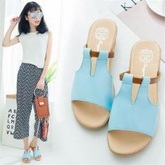 Musim Panas Gaya Baru Fashion Gaya Korea Sandal Sepatu Luar Pakai Tahan Air Taiwan Ikan Mulut Sepatu Flat Lereng dengan Sandal Wanita (Biru) -Intl
