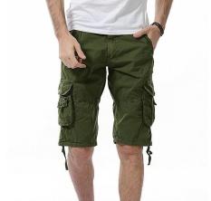 Musim Panas Gaya Baru Fashion Pria Pakaian Celana Pendek Olahraga Pantai Katun Murni Oversize Shorts Celana (tentara Hijau) -Intl