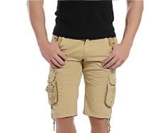 Musim Panas Gaya Baru Fashion Pria Pakaian Celana Pendek Olahraga Pantai Katun Murni Oversize Shorts Pants (khaki)-Intl