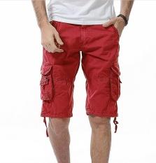 Musim Panas Gaya Baru Fashion Pria Pakaian Celana Pendek Olahraga Pantai Katun Murni Oversize Shorts (merah)-Intl