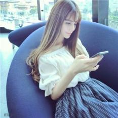 Beli Barang Musim Panas Baru Wanita Korea Versi Manis Lotus Leaf Collarstrapless Berlengan Pendek Bergaris Kembali Dress Kencang Intl Online