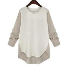 Musim Panas Wanita Fashion Panjang Lengan Spell Color Panjang Boose Hem Tidak Teratur Baju Sifon Blus (khaki)-Intl