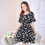 Spek Summer Round Leher Lengan Pendek Wanita Chiffon Dress Intl Tiongkok