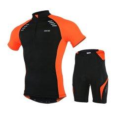 Musim Panas Lengan Bang Pendek Bersepeda Jersey Set Mtb Sepeda Road Riding Ropa Ciclismo Pakaian Cepat Kering Olahraga For Laki Laki Pria Oranye Not Specified Diskon 40
