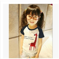 Diskon Produk Musim Panas Lengan Pendek Giraffe Mencetak Gadis T Shirt Kid Shirt Atas Internasional