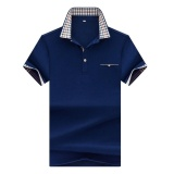 Harga Musim Panas Lengan Pendek T Shirt Pria Lapel Korea Slim Poloshirt Kerah V Muda England Trend Setengah Lengan T Kaos Kemeja Biru Intl