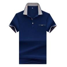 Spesifikasi Musim Panas Lengan Pendek T Shirt Pria Lapel Korea Slim Poloshirt Kerah V Muda England Trend Setengah Lengan T Kaos Kemeja Biru Intl Beserta Harganya