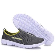 Jual Musim Panas Slip Ons Dilengkapi Ventilasi Mesh Fashion Loafers Dark Grey Men Ukuran 38 46 Baru