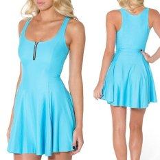 Toko Solid Musim Panas Bodycon Gaun Gaun Spaghetti Strap Club Party Mini Dress Wanita Tanpa Lengan Rompi O Collar Dress Zipper Gaun Light Biru Xxs Xxl Intl Termurah