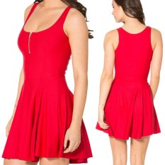 Diskon Besarsolid Musim Panas Bodycon Gaun Gaun Spaghetti Strap Club Party Mini Dress Wanita Tanpa Lengan Rompi O Collar Dress Zipper Gaun Merah Dress Xxs Xxl Intl