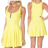 Review Solid Musim Panas Bodycon Gaun Gaun Spaghetti Strap Club Party Mini Dress Wanita Tanpa Lengan Rompi O Collar Dress Zipper Gaun Kuning Xxs Xxl Intl Terbaru