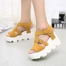 Gaya Musim Panas 2016 Platform Sandal Sepatu Wanita Tinggi Tumit Kasual Sepatu Membuka Toe Platform Gladiator Trifle Sandal Wanita Sepatu (kuning)