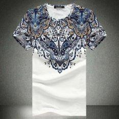 Promo Musim Panas Gaya Headset Kartun Dicetak Kaos Casual T Shirt Pria Merek Tshirt Marcelo Burlon T Shirt Kapas Lengan Pendek Tee Shirt Warna Putih Intl