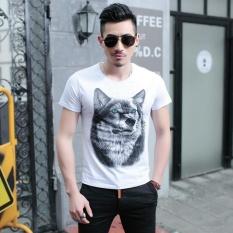 Gaya Musim Panas Baru 3D Serigala Tercetak Pria Mengenakan T-shirt Kasual Katun Kaos Bermerk Plus Ukuran M-5XL-Intl