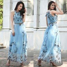 Jual Gaya Musim Panas Wanita Baru Fashion Long Maxi Dress Tanpa Lengan Pesta Malam Elegan Gaun Pesta Kasual Dengan Belt Blue Intl Oem