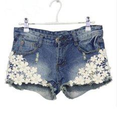 Jual Gaya Musim Panas Wanita Celana Pendek Lace Floral Manik Manik Denim Shorts Rivet Dihiasi Intl Di Bawah Harga