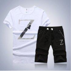 Summer T Kemeja dan Celana Pendek Set Pria Baru Z Kata Baju Lengan Pendek Fashion Pendek Set Pria Sederhana Suit Putih-(Intl) -Intl